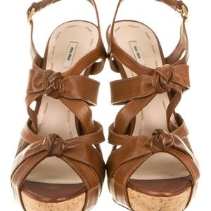 4cf5cb41a1348 Miu Miu Shoes - Brown Tan Strappy Caged Leather Knotted Heels